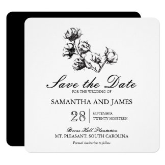 Cotton Plant Etching | Wedding Save the Date 13 Cm X 13 Cm Square Invitation Card