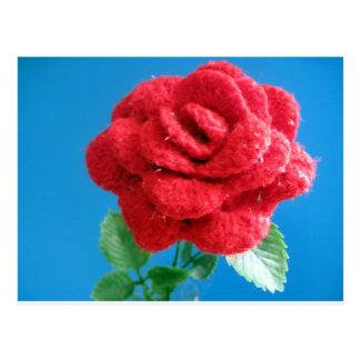 Cotton Red Rose Postcard