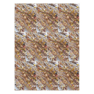 Cotton Tablecloth- Natural Earthtones Beads Print Tablecloth