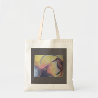 COTTON TOTE BAG WITH ORIGINAL PAINTING OF CROWS