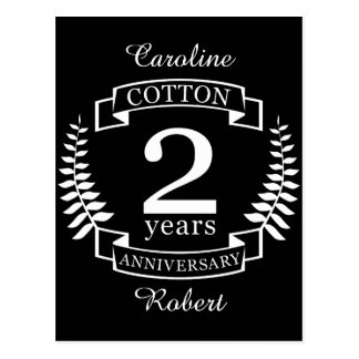 Cotton wedding anniversary 2 years married postcard