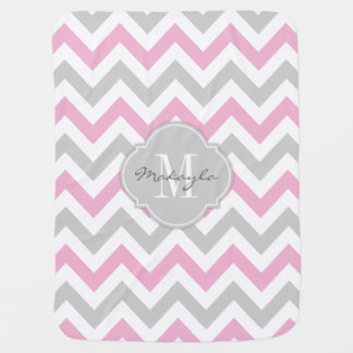 Cottoncandy Pink and Gray Chevron with Monogram Pram blankets