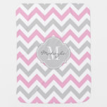 Cottoncandy Pink and Grey Chevron with Monogram