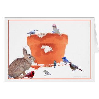 Cottontail- birds among a garden pot:Thoreau quote Card