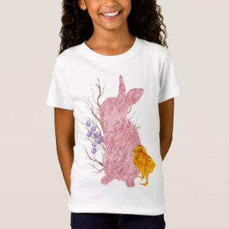 Cottontail Bunny Pink Chick Easter Spring Girl's T-Shirt