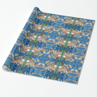 Cottontail Bunny Rabbit Blue Folk Art Gift Wrap