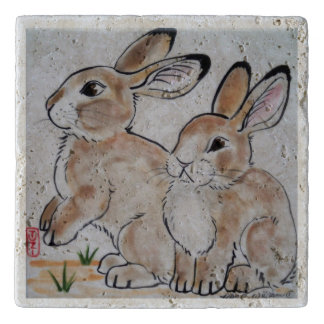 Cottontail Rabbit Oriental Style Stone Tile Trivet