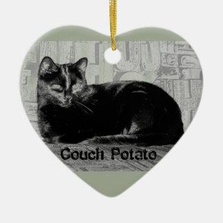 """""""Couch Potato"""" Black Cat Ceramic Ornament"""