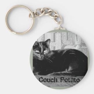 """Couch Potato"" Black Cat Key Ring"