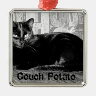 """Couch Potato"" Black Cat Metal Ornament"