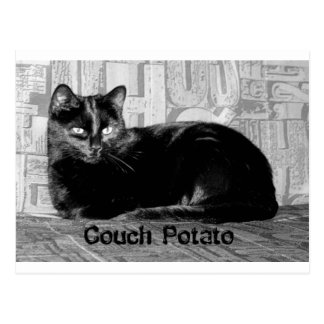 """Couch Potato"" Black Cat Postcard"