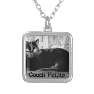 """""""Couch Potato"""" Black Cat Silver Plated Necklace"""
