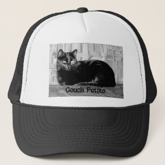 """Couch Potato"" Black Cat Trucker Hat"