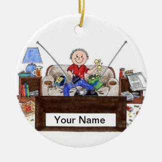 Couch Potato - Male Ceramic Ornament