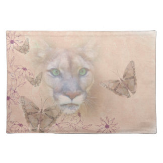 Cougar and Butterflies Place Mat
