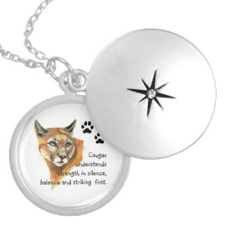 Cougar Animal Totems, Encouragment and Inspiration Locket Necklace