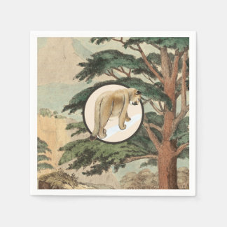 Cougar In Natural Habitat Illustration Paper Napkin