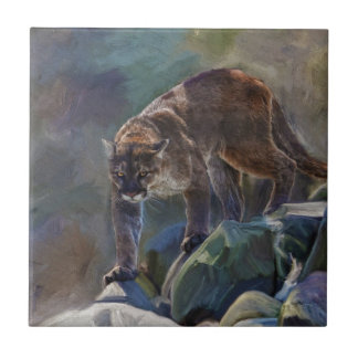 Cougar Mountain Lion Big Cat Painting 5 Ceramic Tile