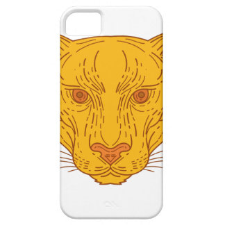 Cougar Mountain Lion Head Mono Line Barely There iPhone 5 Case