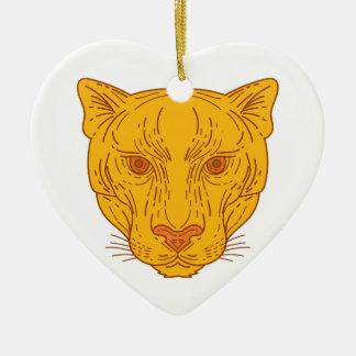 Cougar Mountain Lion Head Mono Line Ceramic Ornament