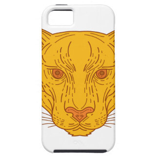 Cougar Mountain Lion Head Mono Line iPhone 5 Cases