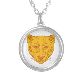 Cougar Mountain Lion Head Mono Line Silver Plated Necklace