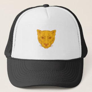 Cougar Mountain Lion Head Mono Line Trucker Hat