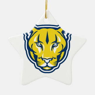 Cougar Mountain Lion Head Retro Ceramic Ornament