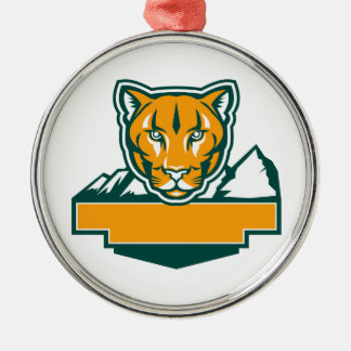 Cougar Mountain Lion Head Retro Metal Ornament
