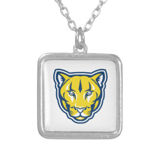 Cougar Mountain Lion Head Retro Silver Plated Necklace