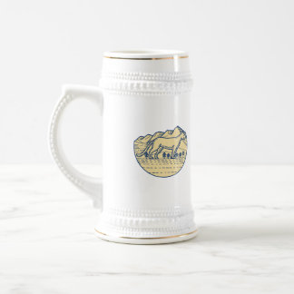 Cougar Mountain Lion Tree Mono Line Beer Stein