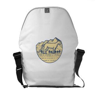 Cougar Mountain Lion Tree Mono Line Messenger Bags