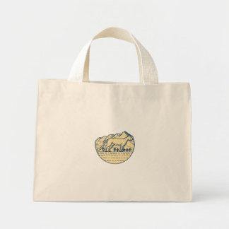 Cougar Mountain Lion Tree Mono Line Mini Tote Bag
