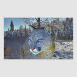Cougar Mountain Lion & Winter Tree Wildlife Image Rectangle Stickers