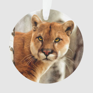 Cougar Photo Painting Ornament