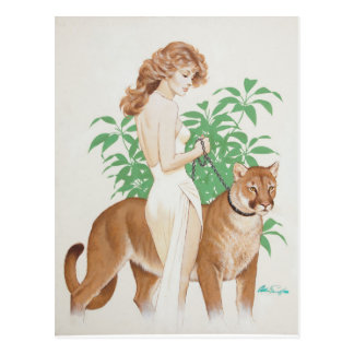 Cougar PinUp Postcard
