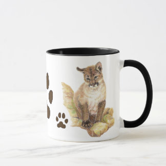 Cougar, Puma, Mountain Lion Animal Cub Tracks Mug
