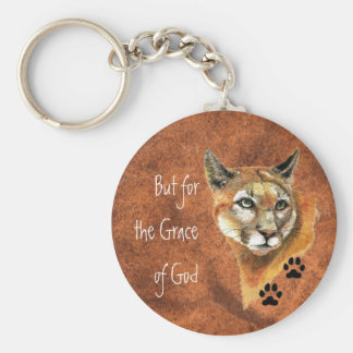 """Cougar Puma Mountain Lion """"But for  the Grace of """" Key Ring"""