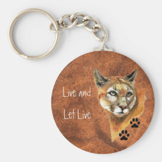 """Cougar Puma Mountain Lion """"Live and Let Live"""" Key Ring"""