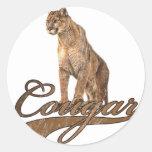 Cougar Round Sticker