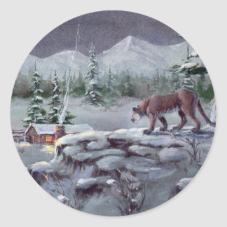 COUGAR WATCHING by SHARON SHARPE Classic Round Sticker