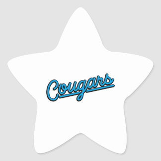 Cougars in cyan Star Sticker