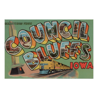 Council Bluffs, Iowa - Large Letter Scenes Poster