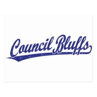 Council Bluffs script logo in blue Postcard