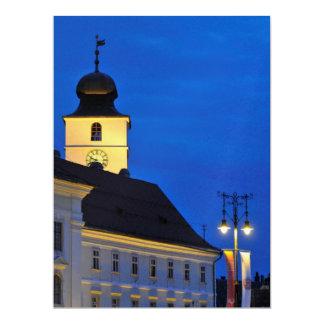 Council Tower at night, Sibiu 17 Cm X 22 Cm Invitation Card