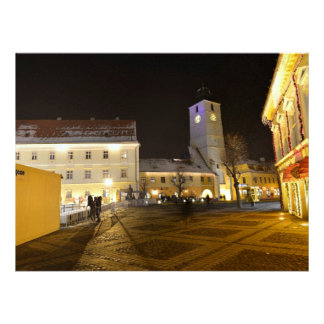 Council Tower at night Sibiu Custom Announcements