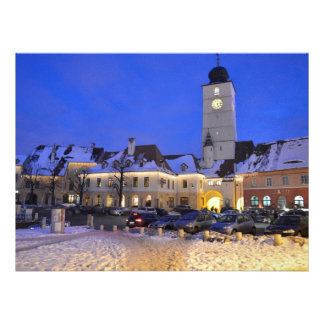 Council tower at night Sibiu Personalized Invitations