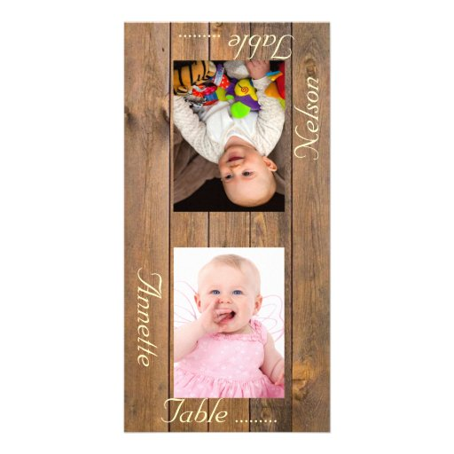 Counry Style Bride & Groom Photo Table Card Custom Photo Card