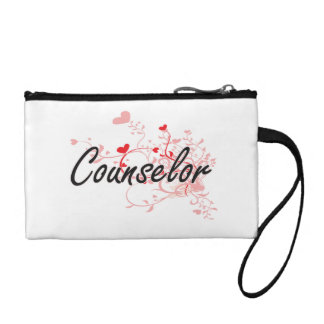 Counselor Artistic Job Design with Hearts Coin Purse