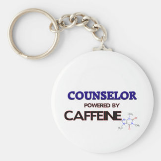 Counselor Powered by caffeine Basic Round Button Key Ring